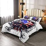 Erosebridal Skull Comforter Set Full Size, American Flag Down Comforter for Kids Boys Teens, Geometric Stripes Stars Duvet Insert United States Retro Bedding Comforters with 2 Pillow Cases