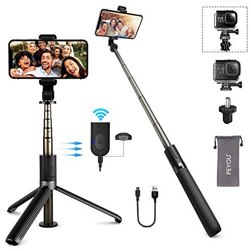 PEYOU Palo Selfie Trípode, Recargable Remoto Bluetooth, 32.3'' Selfie Stick Móvil Compatible para GoPro, Mini Cámara, Aluminio Aleación, Compatible para iPhone 12, 11, X, Samsung Galaxy S10e, S20