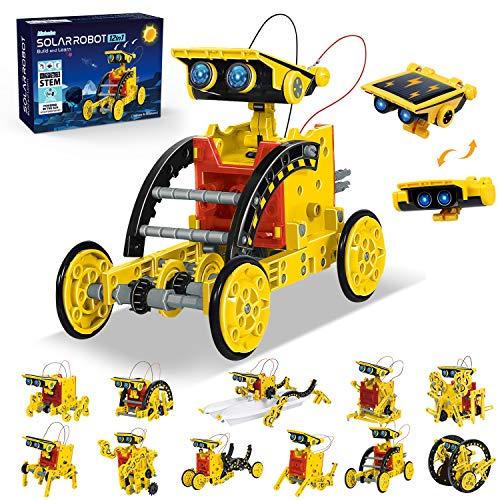 ANGELBLISS Mejore el Kit de construcción de Robots Stem, Juguetes de Robot Solar 12 en 1 con Modo 2 en 1 con energía Solar y batería para niños Mayores de 8 años