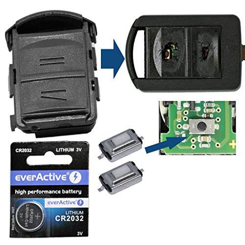Repair Reparatur Satz Gehäuse Funkschlüssel Fernbedienung Autoschlüssel Gehäuse 2X Mikrotaster 1x CR2032 Batterie kompatibel mit Opel