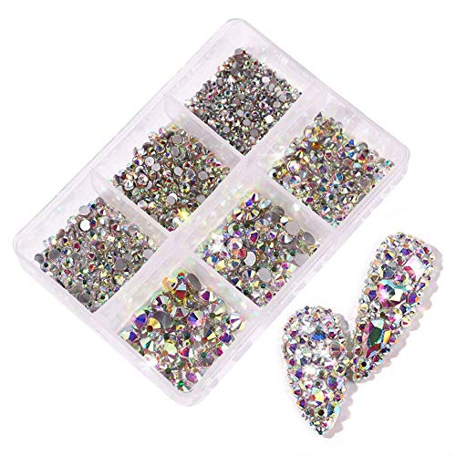 NC 3D Nail Art Strass Cristal Diamant Dos Plat Strass AB Strass Bricolage perceuse à Ongles Nail Art Artisanat mélange Taille