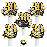 30th Birthday Party Centerpiece Sticks - Cheers To 30 Years Anniversary Decoration - Set of 24 Golden Glitter Table Toppers Thirty Years Old Birthday Party Table Supplies