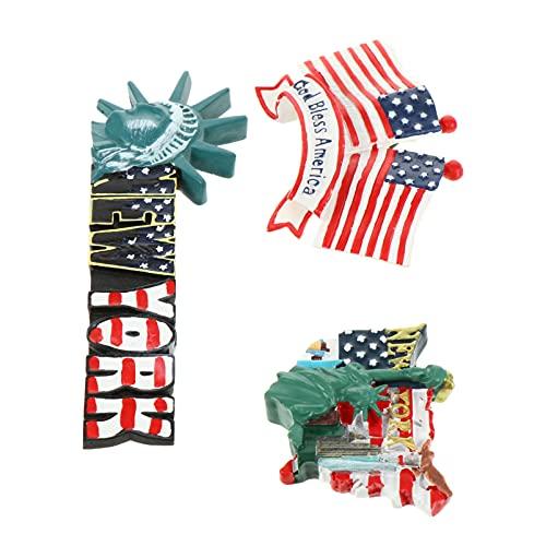 PRETYZOOM 3 Unidades Imán de Nevera de EE. UU. Estatua de La Libertad 3D Refrigerador Decoración Bandera Americana Etiqueta de Míchigan Regalo de Recuerdo Decoración de Nevera del Día de La