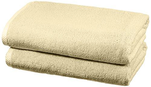 AmazonBasics - Juego de 2 toallas de secado rápido, 2 toallas de baño - Beige