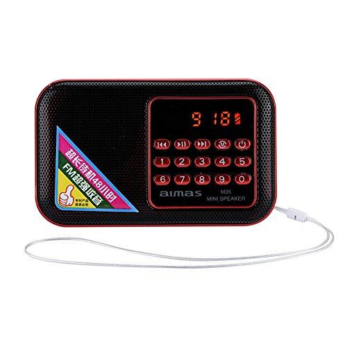 Draagbare FM-radio, mini-radio luidspreker ruisonderdrukking stereo mp3-speler ruisonderdrukking FM-radio ondersteuning USB/TF/AUX voor ouderen (rood)