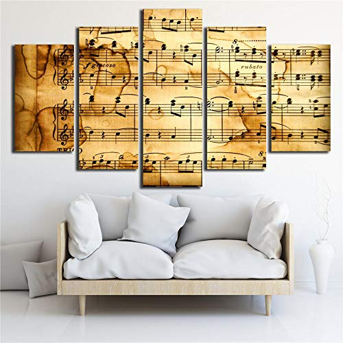 sanjiiNG HD Gedruckt 5 Stück Leinwand Kunst Akustische Spektrum Malerei Vintage Poster Musik Wandbilder für Wohnzimmer Dekoration40cmX60cmX2 40cmX80cmX2 40cmX100cmX1