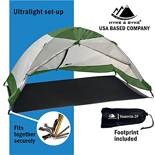 2 Person Backpacking Tent with Footprint - Lightweight Yosemite Two Man 3 Season, Waterproof, Ultra Compact 2p Freestanding Backpack Tents for Camping and Hiking by Hyke & Byke (Forest Green)