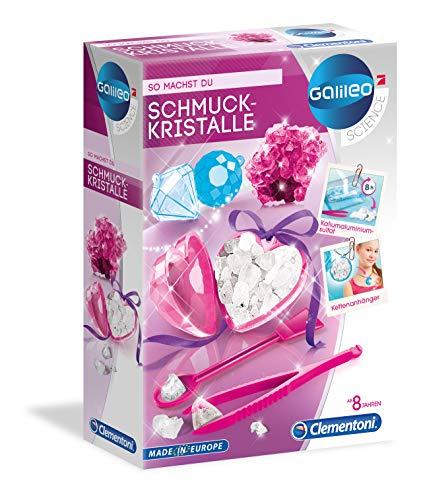 Clementoni 59062 Galileo Science – smyckeskristaller, leksaker för barn från 8 år, odla färgglada kristaller, gör-det-själv-hängare, färgglad experimentlåda
