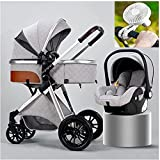 Bebé cochecitos ventilador ligero 3 en 1 Sistema de viaje de carro de bebé plegable con asiento de coche Fácil plegado Pasta de pie Manta Almohadilla de enfriamiento Cubierta de lluvia Mosquitera Net
