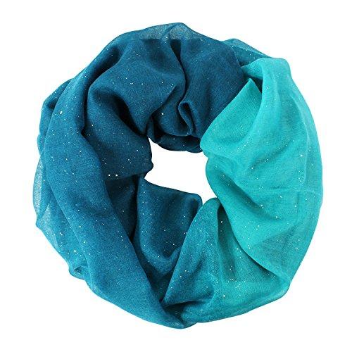 Glamexx24 Neue Kollektion Damen schal leichter Langschal Loop Schlauchschal Tuch Viele Farben, 01129 Blau, Einheitsgröße