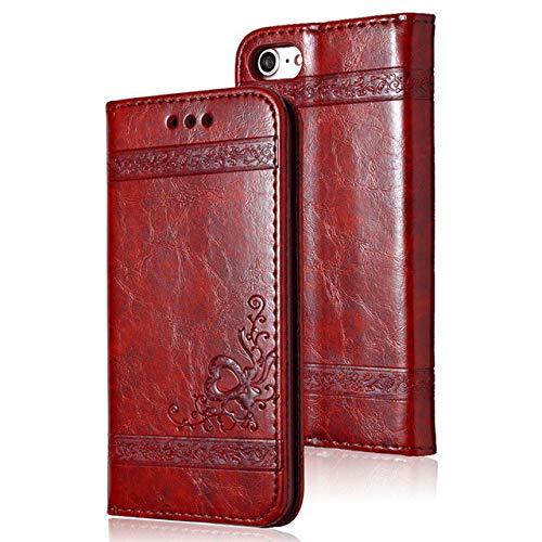 LIUYAWEI Funda de Cuero con Tapa para teléfono para iPhone X 11 6 6S 7 8 Plus para iPhone X XR 12Pro XS MAX Ranura para Tarjeta Funda para teléfono Cubierta Completa, Rojo, para iPhone 11pro MAX