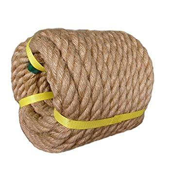 Twisted Manila Rope Jute Rope  3/4 in x 50 ft  Natural Thick Hemp Rope for Crafts Landscaping Railings Hammock Home Decorating
