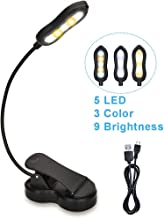 Rechargeable Book Light, Merisky 5 LED Clip on Reading Light for Book in Bed, 3 Color × 3 Brightness, Up to 60 Hours Eye Care Reading, Warm & White, Perfect for Kids, Bed Headboard & Travel