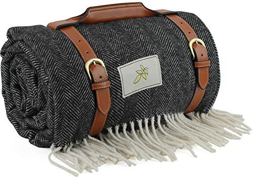Good Gain Premium Wolle Picknickdecke mit wasserdichter Unterlage und PU-Griff, Extra Groß 60