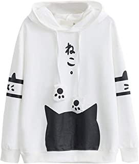 Xinantime Womens Hooded Tee Casual Long Sleeve Cat Print Hoodie Blouse Top Shirt with Pocket