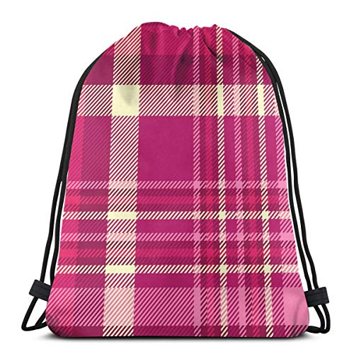 Osmykqe Drawstring Bags Plaid Check Patten Shades Pink Maroon Backpack for Work/Business/College/Men/Women