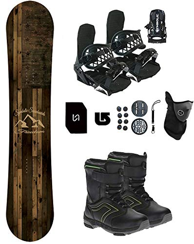 Symbolic Freedom Kids Snowboard & Bindings & Boots +Leash+Stomp+Mask+Burton Decal Package (BLK Bindings+Grom Boot Black-Lime 1, 100cm Freedom Rocker)