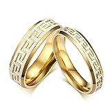 Amody Edelstahl 4mm 6mm griechisches Schlüssel Muster Paar Ringe für Hochzeits-Engagement Frauen 57 (18.1) & Männer 65 (20.7)
