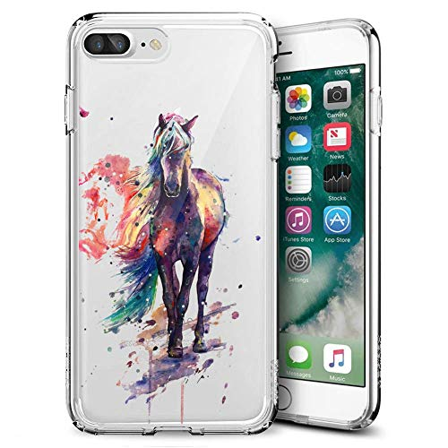 Slim Clear Watercolor Horse Tie dye Case for iPhone 7 Plus 8 Plus Customized Design Soft TPU and Rubber Flexible Durable Shockproof iPhone 7 Plus 8 Plus Protective Case-Anti-Slippery
