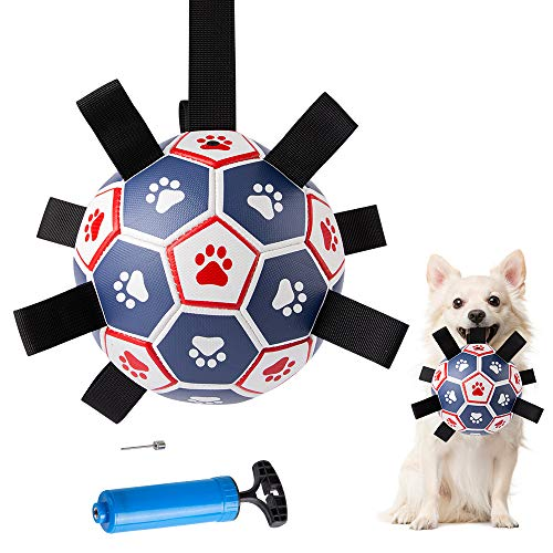 Hundespielzeug Hundeball Fußballball mit Greiflaschen Haustier Spielzeug Schwimmender Ball Wasserball für Hunde