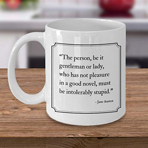 Lawenp ¡Taza de Jane Austen! Regalo de Jane Austen, cita de Jane Austen, Abadía de Northanger, regalo para lector, amante de los libros, Sr. Darcy 11 oz