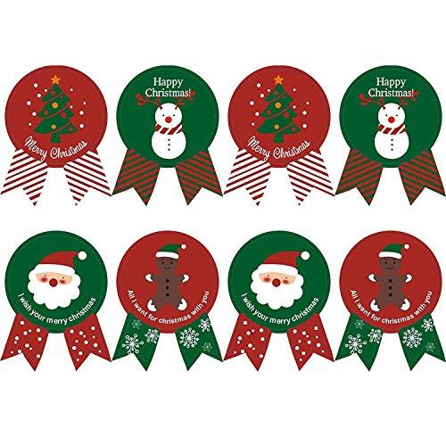 Kingsley 160 Pz Baking Imballaggi Cravatta Tenuta Natale Adesivi Apposti Buon Natale & Present Etichetta Festa Stickers & Buon Natale (20 Fogli)