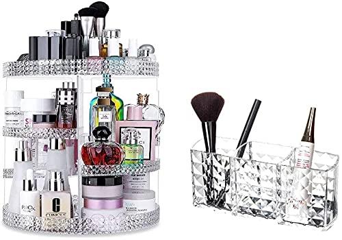Recet Joyero para mujer, caja de almacenamiento de cosméticos, giratorio 360°, organizador de maquillaje, de acrílico, 7 niveles ajustables, multifuncional, caja de almacenamiento de maquillaje