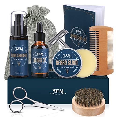 Kit Barba per Uomo, Kit Cura Barba Premium Crescita, Y.F.M. Set 8 in 1 per la cura della barba, Regalo di Natale per papà marito fidanzato (Nuovo pacchetto) (Assortito)
