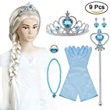 Vicloon 9pcs Upgrade Princesse Dress Up Accessoires pour Costume d'Elsa la Reine des Neiges - Perruque/Bague/Boucles d'oreilles/Collier/Gants/Diadème/Baguette Magique pour Carnaval 2-10 ans