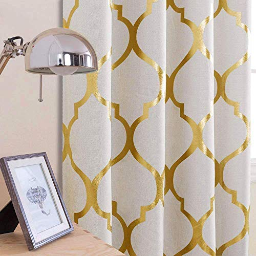 """jinchan Linen Textured Curtains Moroccan Tile Foil Printed Curtain Panels Room Darkening Bedroom Living Room Thermal Insulated Window Treatment 2 Panel Drapes 84"""" L Gold"""