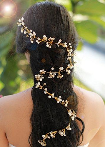 Gracewedding Mariage Doré Cheveux longs Vigne Mariage Cheveux Vigne Mariage vintage Coiffe Cheveux Cristal pièces mariée Bijoux de cheveux cristal Mariage Accessoires Cheveux