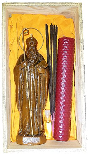 Candle Art Ritual San Benito para Exorcismos, Cera de Abeja con Plantas, RITUALIZADA