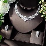Forma De Flores De Moda AAA Zircon Cúbico Joyas De Novia Conjuntos De Joyas De Color Blanco África Beads Set Jewelry yangain (Color : Silver)