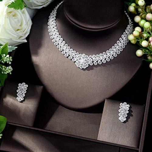 LIYDENG Joyas Forma De Flores De Moda AAA Zircon Cúbico Joyas De Novia Conjuntos De Joyas De Color Blanco África Beads Set Jewelry (Color : Silver)