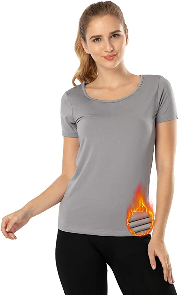 MANCYFIT Thermal Top for Women Fleece Lined Shirt Short Sleeve Base Layer