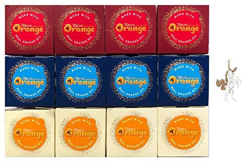 Terry's Chocolate Orange Selection 12er Pack bestehend aus 4 x Terrys Milchschokolade, 4 x Frottee weiße Schokolade, 4 x Terrys dunkle Schokolade und Weihnachtsbaumschmuck.