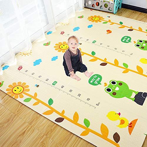HAOWEN Babyspielmatte Falten Baby Doppelseitige Muster Pflege Schaum Babymatte Für Boden Boden Crawl Mat Für Baby Slip Extra Große Schaum Wasserdicht Tragbare,B-180 * 200 * 1.5cm