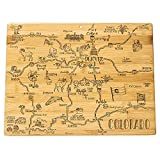 Totally Bamboo Destination Colorado State Shaped Serving and Cutting Board, Includes Hang Tie for Wall Display