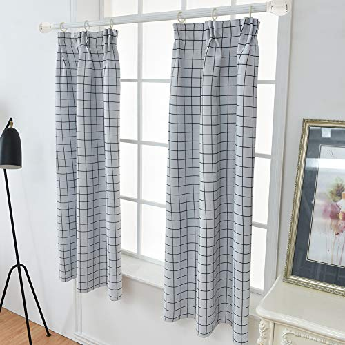 Price comparison product image Maritown W100xL130 Rustic Black & White Grid Geometry Pattern Polyester Crochet Curtains for Kitchen Balcony 1 Panel