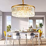 Luxurious Crystal Chandelier Modern Contemporary Chandelier 4-Tier European Ceiling Pendant Lights for Dining Room Living Room Hotel, 9 E12 Bulbs Required (Gold, Dia23.6'' 2-Tier)
