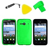 TPU Flexible Skin Cover Case Cell Phone Accessory + Screen Protector + Extreme Band + Stylus Pen + Pry Tool For Alcatel Onetouch A464BG (TPU Green)