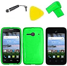 TPU Flexible Skin Cover Case Cell Phone Accessory + Screen Protector + Extreme Band + Stylus Pen + Pry Tool For Alcatel Onetouch Pixi Glitz A463BG (TPU Green)