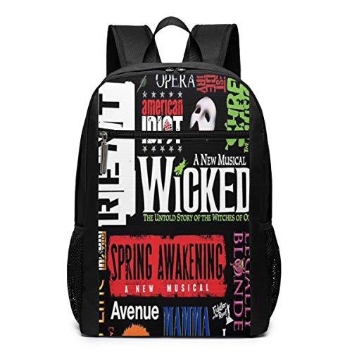 Schultasche Travel Daypack, Broadway Theatre Musical Poster Backpacks Travel School Large Bags Shoulder Laptop Bag for Men Women Kids