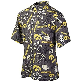 Wes and Willy Mens College Hawaiian Short Sleeve Button Down Shirt Vintage Floral  Large Iowa Hawkeyes Black