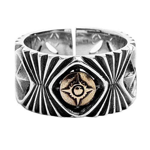 HHXXTTXS 925 Yinyang Musterring Thai Silber Offener Ring Einstellbare Größe