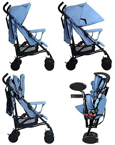 Buggy Stroller Travel Buggy Summer Blue Lightweight Pushchair for Kids Little Bambino ✨Extendable upf 50+ sun canopy and built-in sun visor ✨EASY USAGE - One-hand foldable buggy makes taking your baby for travels or walks a simple pleasure. It could stand on its own so you could take care of your baby with less things to worry about. ✨ADJUSTABLE BACKREST - Travel stroller backrest can be adjusted in sitting or reclining mode, also the footrest could be adjusted for baby need. Suitable for children from 0 to 36 months 8
