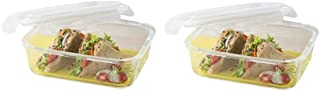 Borosil Klip & Store Rectangular Containers with Lid, 370ml Set_of_2