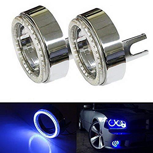 iJDMTOY (2) Ultra Blue 40-SMD LED Angel Eyes Halo Rings w/Chrome Shrouds Compatible With Fog Lights Custom Retrofit DIY Use