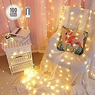 100 LED Globe String Lights Battery Operated with Remote, 8 Modes 33ft Fairy Ball String Lights for Christmas, Festivals, Party, Waterproof Bulb String Lights as Indoor&Outdoor Decor (Ball-Warm White)