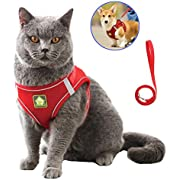 "Domkim Soft Mesh No Pull Dog Harness and Leash Set for Small Medium Dogs/Cats, Cat Harness and Leash for Walking Escape Proof (L -15-18"" Chest, Red)"